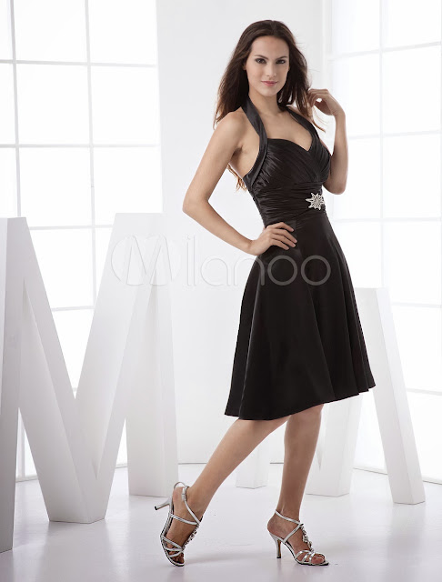China Wholesale Clothes - Sweet Black Satin Halter Women's Little Black Dress