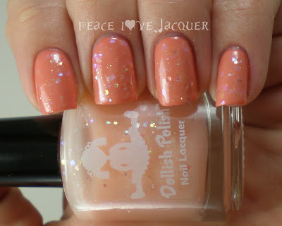 Dollish Polish, Peter Cottontail, limited edition, Coral, peach, holo, holographic, glitter