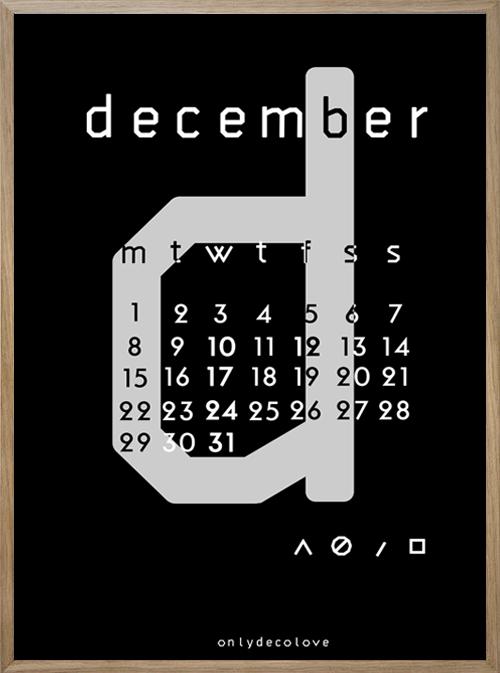Calendar Typography S : November and december free typographic printable