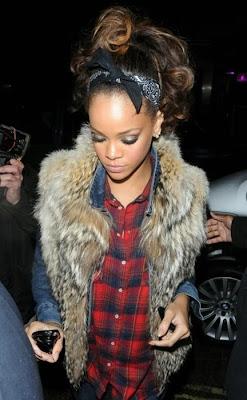 fur vest worn with jean jacket