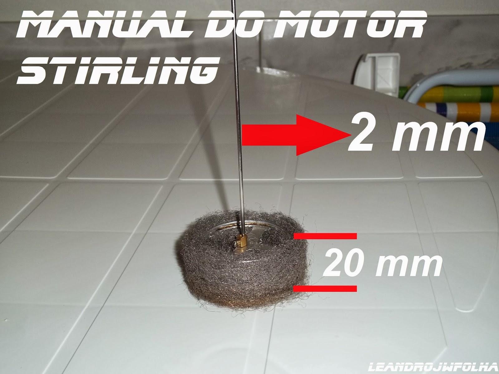 Manual do motor Stirling, pistão deslocador feito em lã de aço