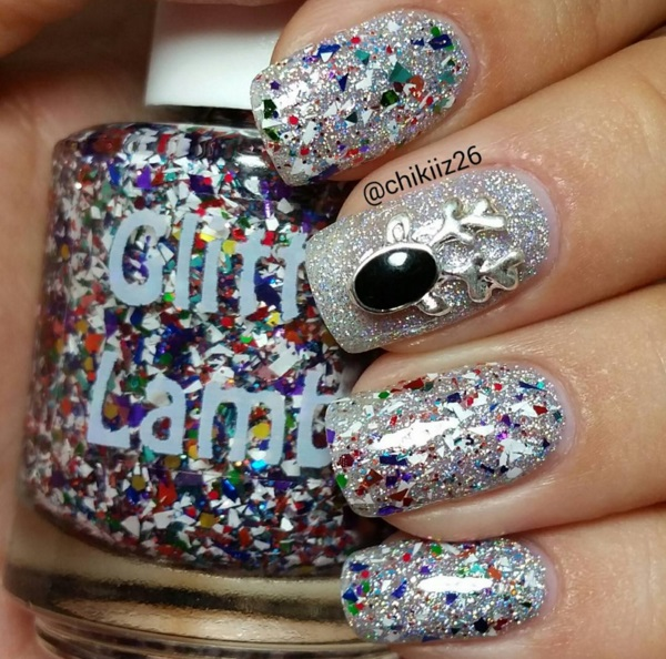 "Glitter Lambs ""Rudolph's Snowglobe""  Glitter Topper Nail Polish Christmas Nails With Reindeer Nail Charm"