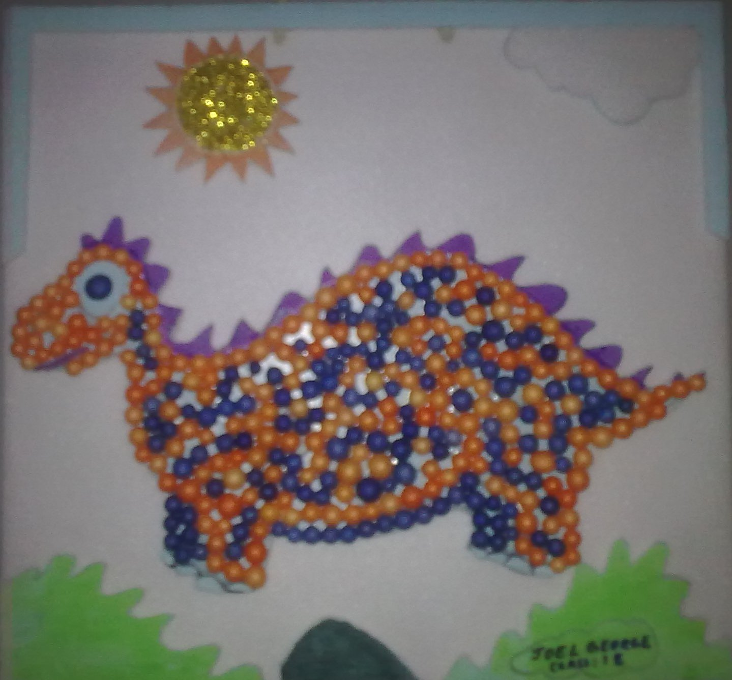 First Draw A Picture On Thermocol Cut It Out And Paste Aother Board Then Decorate With Balls Glitter By Pasting The Design