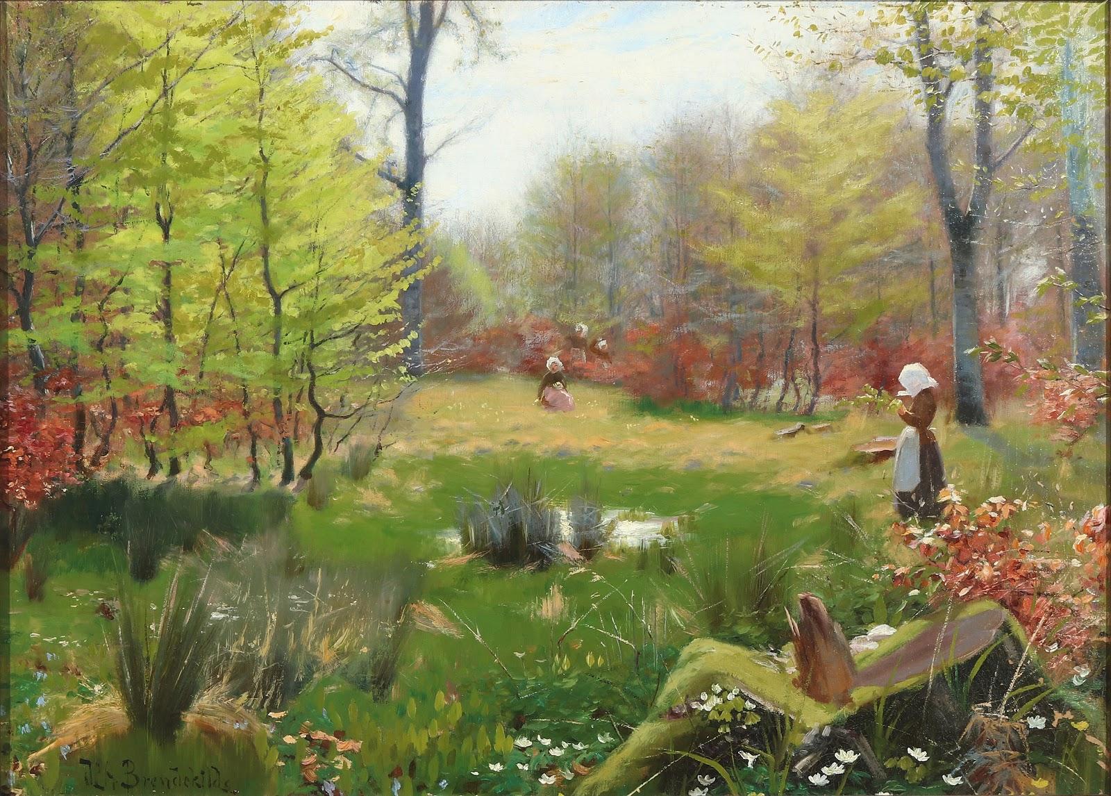 Hans Andersen  rendekilde Unge piger plukker anemoner i for C Arsskoven