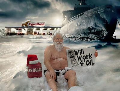 Papai Noel: trabalho por petróleo
