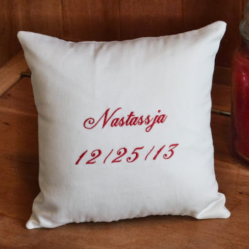Embroidered with his girlfriend's name and the proposal date | All I Want For Christmas Is You pillow | A unique christmas wedding proposal | Belinda Lee Designs