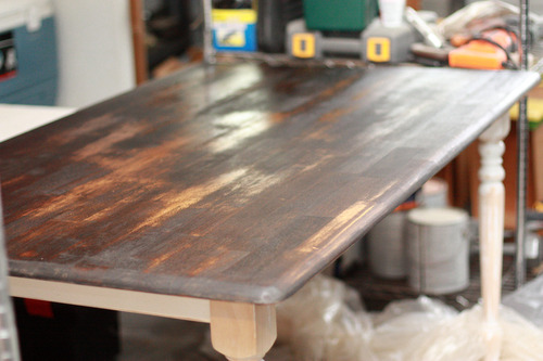 And if I DO go with a light base and chairs, I want the table top to be  stained really dark, like this