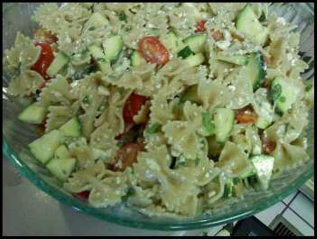 The Woman at the Well: Pasta Salad with Tomatoes, Zucchini and Feta