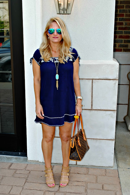 Forever 21 Boho Dress Louis Vuitton Neverfull Kendra Scott Rayban Mirrored Aviators