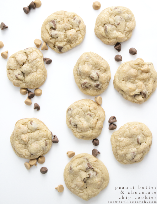 Soft and Fluffy Peanut Butter Chocolate Chip Cookies {so sweet like sarah}