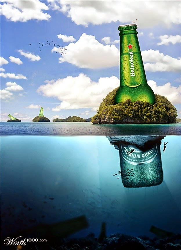 Photomanipulation Heineken Sea Island