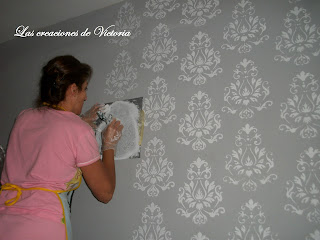 Las creaciones de Victoria. Stencil en dormitorio.Plantillas de stencil