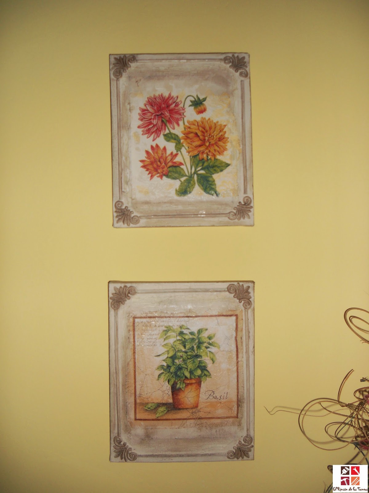 cuadros tuneados con chalky y decoupage
