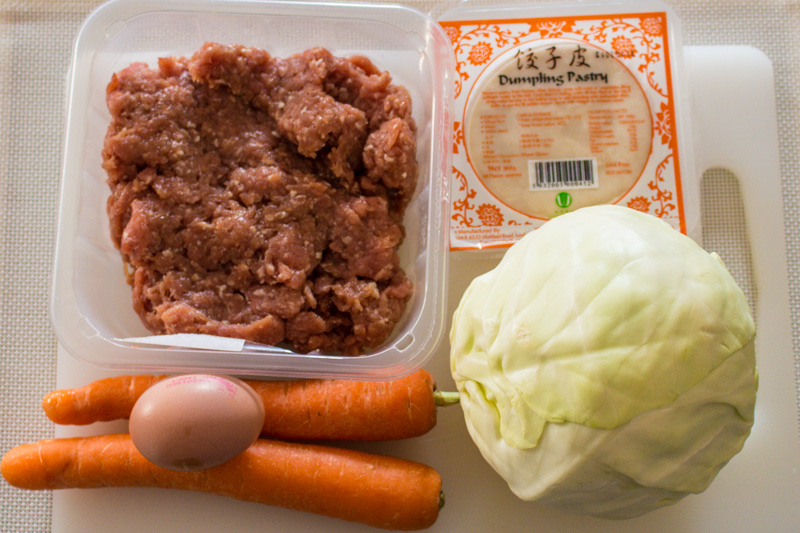 Main ingredients for dumplings: minced pork, cabbage, carrots | Svelte Salivations