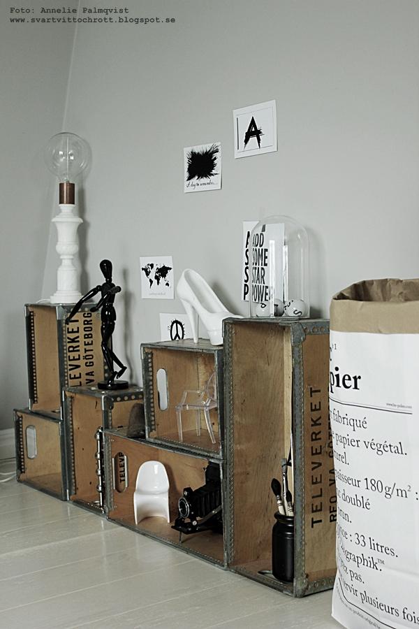 le sac en papier, papperssäck, säckar, papperspåse, papperspåsar, inredning, inredningsdetaljer, details, svartvitt, svart och vitt, trälådor, trälåda, boxes, lådor som hylla, porslinssko, skor, penslar, kamera, miniatyrstolar, inredningsblogg, blogg, bloggar, marmor lampa, diy lampa,