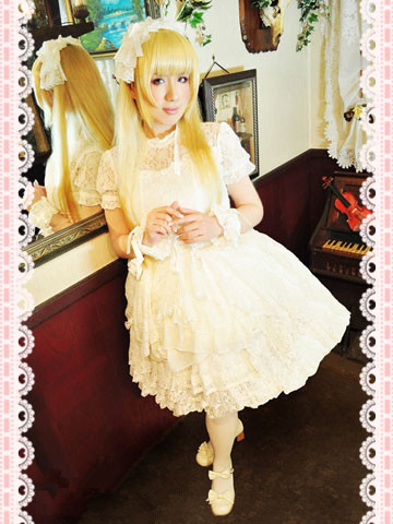 pure white lolita style dress