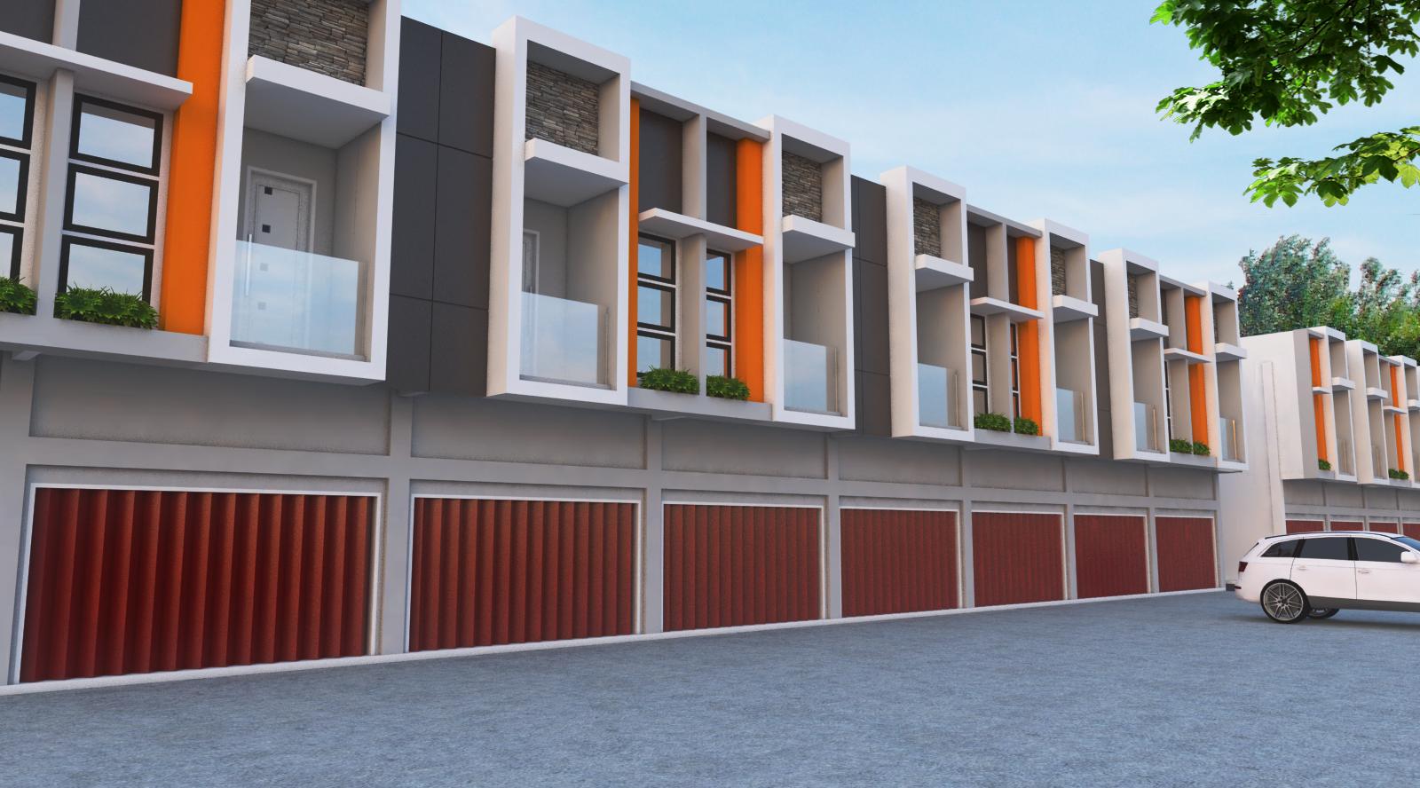 gambar desain ruko minimalis modern 3 lantai tampak depan
