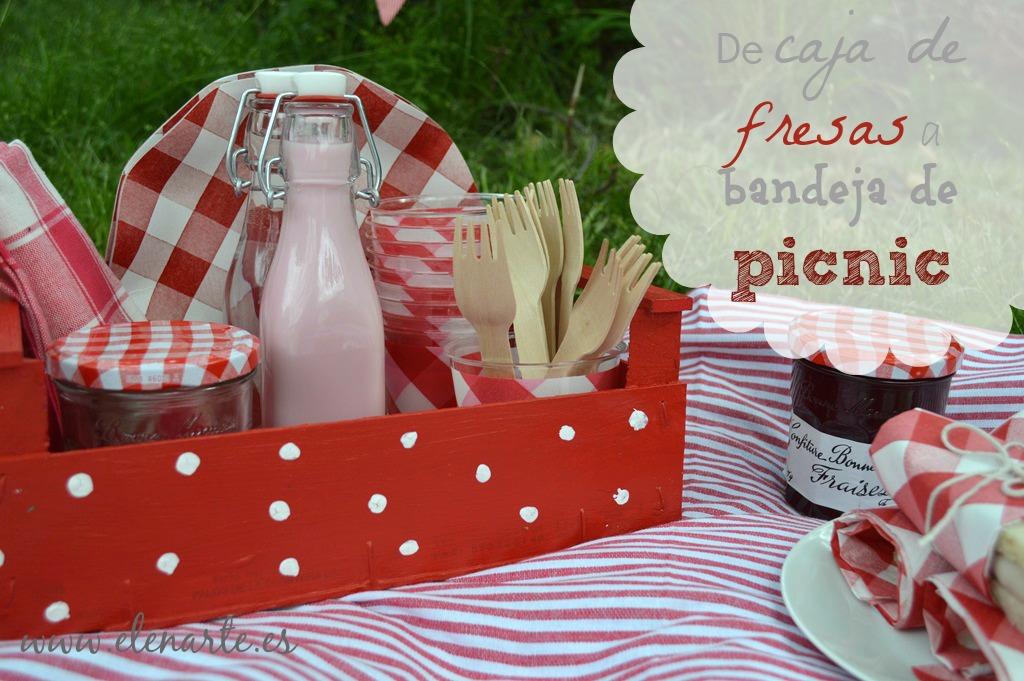Caja de fresas, bandeja de picnic.