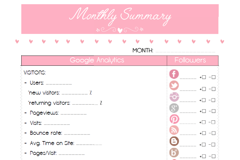 Preview of Blog Notes free blogger planner