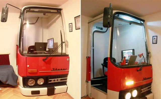 Sucata de ônibus vira escritório moderno