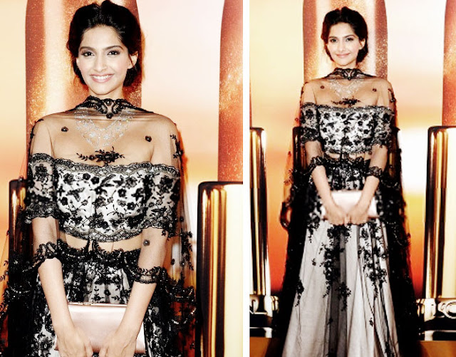 Sonam Kapoor Cannes 2013 in Shehla Khan and Chopard