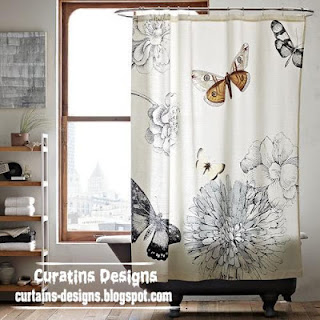 black and white shower curtain butterfly style for modern bathroom - Shower Curtain Design Ideas