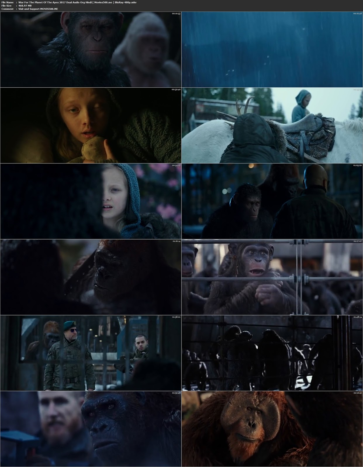 War For The Planet Of The Apes 2017 Hindi Mobile Download 480p 250MB at 9966132.com