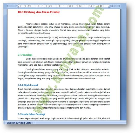 Gambar: Contoh dokumen dengan style heading 1 hingga heading 3 di  Microsoft Word untuk contoh praktek pembuatan daftar isi