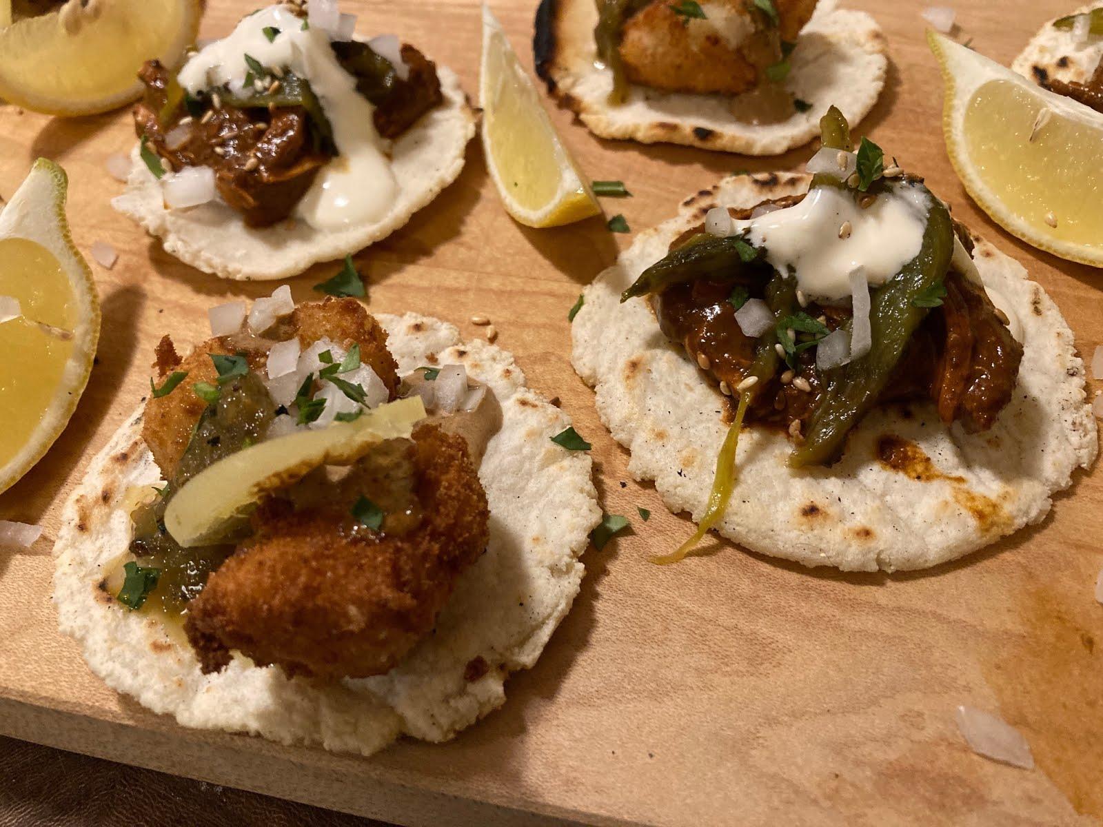 chicken mole & potato croquette tacos