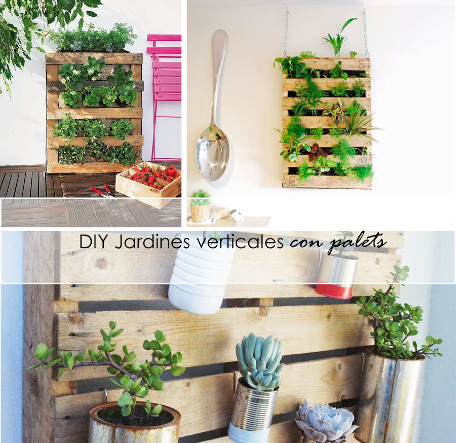 2 tutoriales para jardines verticales con palets ecolog a for Plantas usadas para jardines verticales