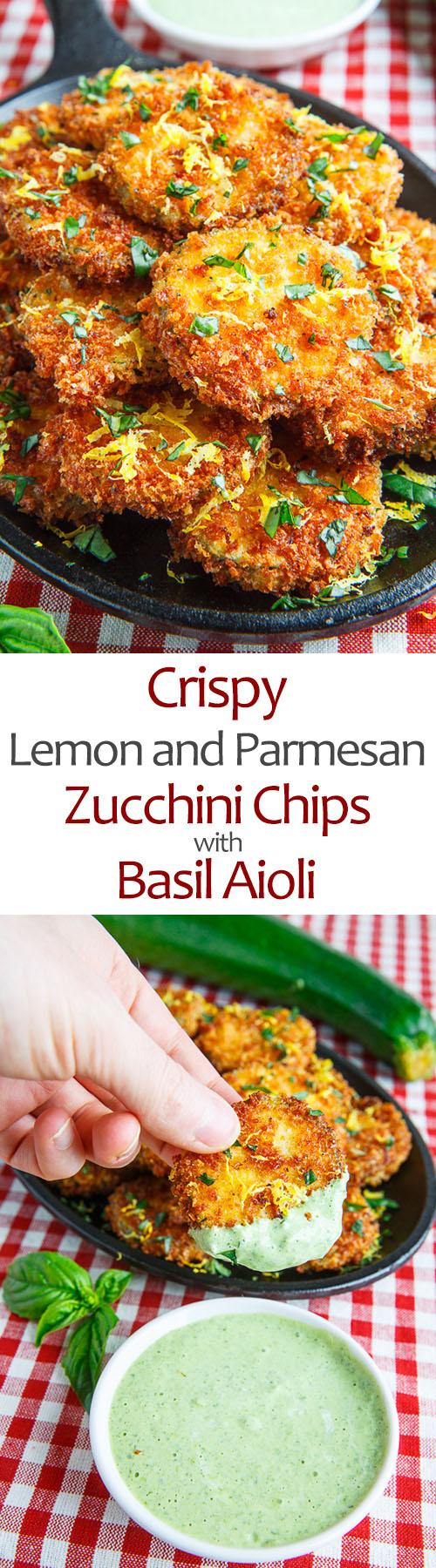Crispy Lemon Parmesan Zucchini Chips with Basil Aioli