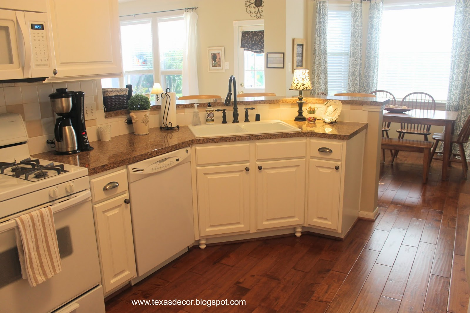 White Kitchen Cabinets with Bisque Appliances