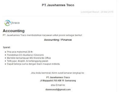 Lowongan kerja resmi PT Jauwhannes Traco