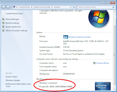 tampilan windows7 setelah activated