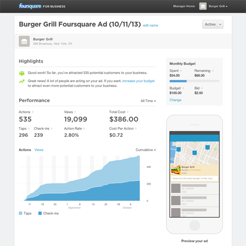 Foursquare Ads interface
