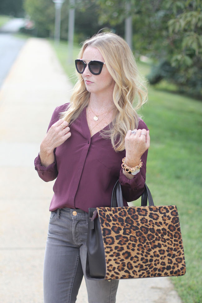 prada sunglasses, trouve silk shirt, boden leopard bag
