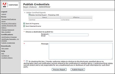 Slanje akreditiva preko Adobe Certified Portal