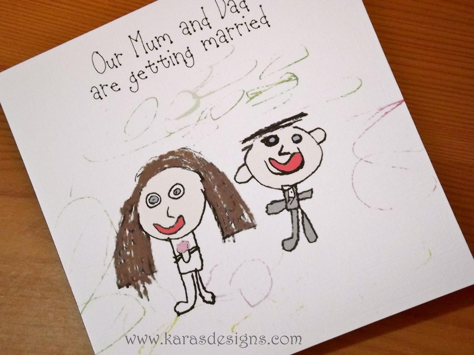 www.karasdesigns.com: Kids Drawn Wedding Invites.