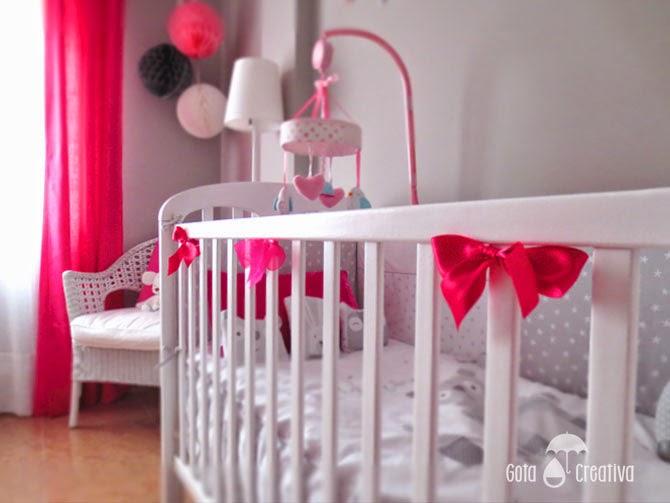 habitación bebe rosa y gris gota creativa