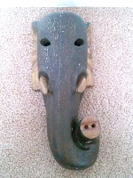 Handmade from wood elephant mask - India