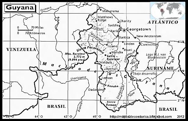 Mapa de GUYANA, Atlas, blanco y negro