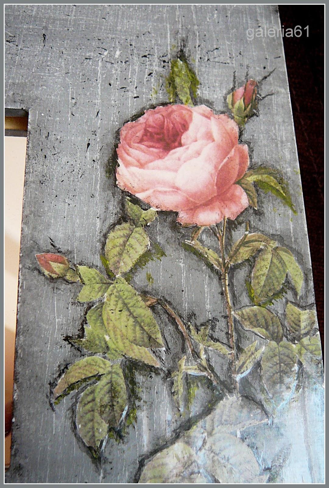 lustro decoupage szare z motywem róż