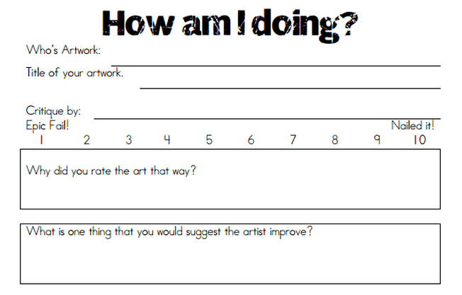 Mini Matisse Student Critique – Art Critique Worksheet