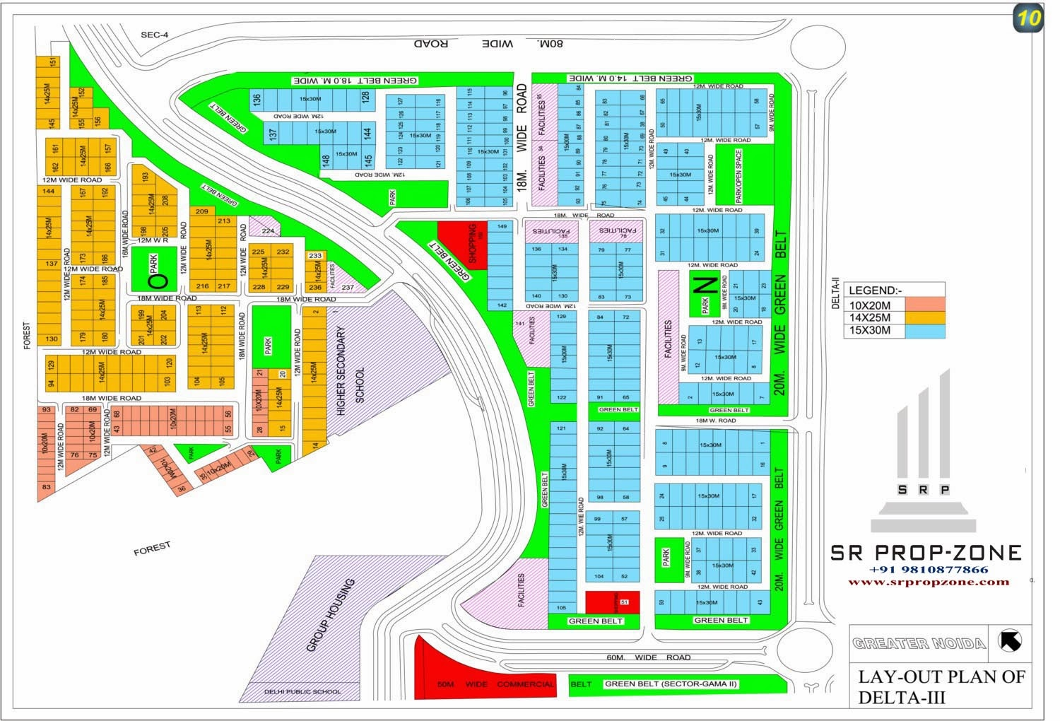 Layout Plan of DeltaIII Greater Noida HD Map