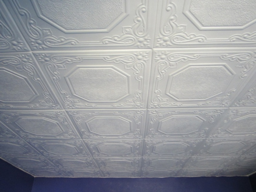 Giy goth it yourself polystyrene tiles over popcorn ceiling for Pannelli in polistirolo per soffitti