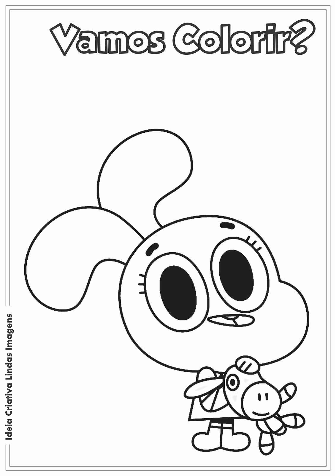 O incrível mundo de Gumball - Anais desenho para colorir