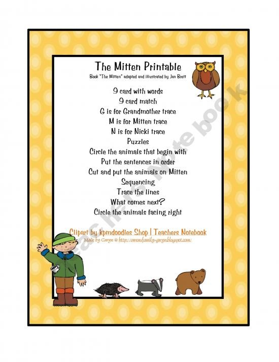 Fabulous image regarding the mitten printable book