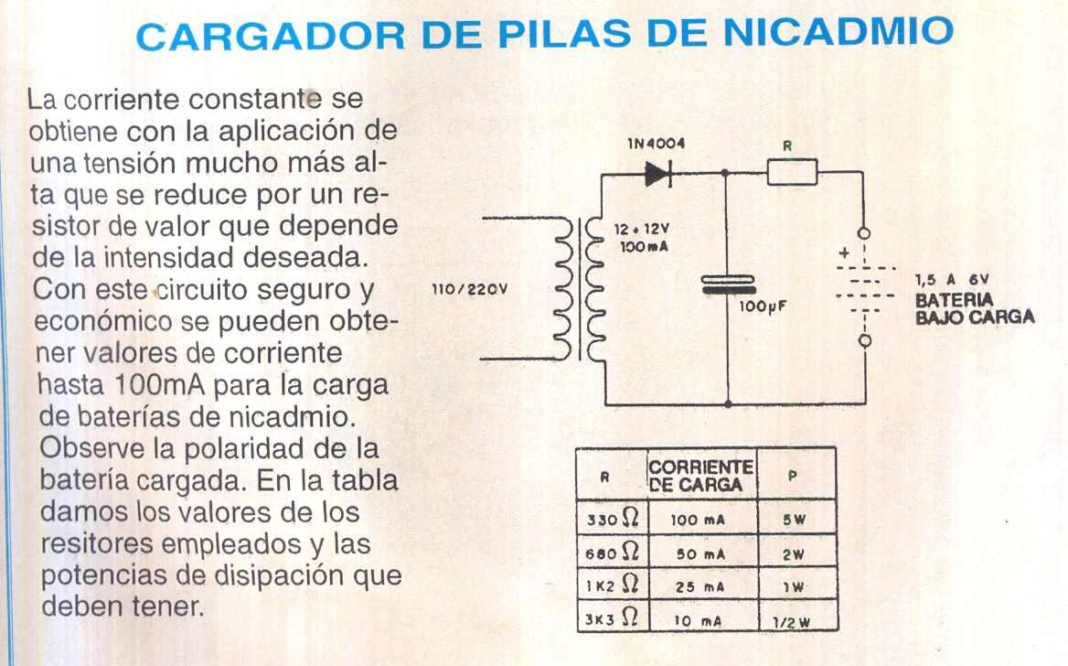 Fichas de circuitos electr nicos cargador de pilas nicadmio - Cargador para pilas ...