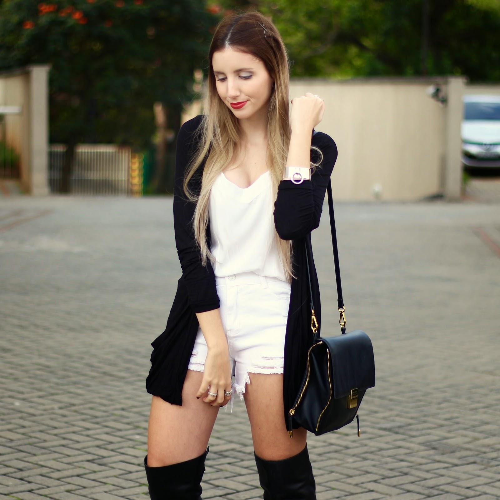 shorts de cintura alta branco