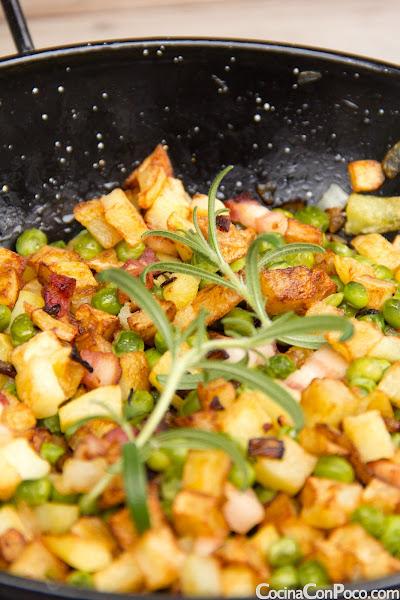 Salteado de Patatas y Bacon - Receta paso a paso